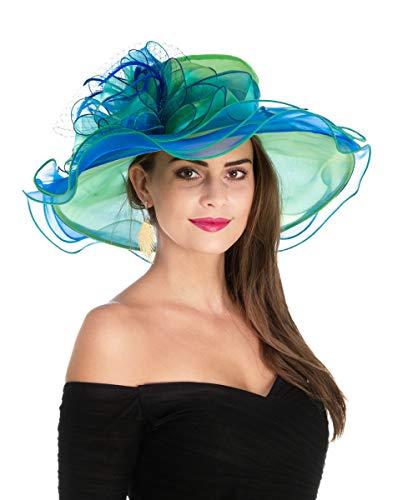 SAFERIN Women's Organza Church Kentucky Derby Fascinator Bridal Tea Party Wedding Hat (3190-Green Blue Mesh) (Winter Seahawks Hat Womens)