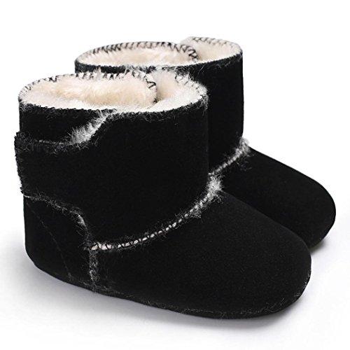 Janly Neugeborenes Baby Flauschige Samt Schuhe Soft Sole Krippe Kleinkind Anti-Rutsch-Stiefel Schwarz