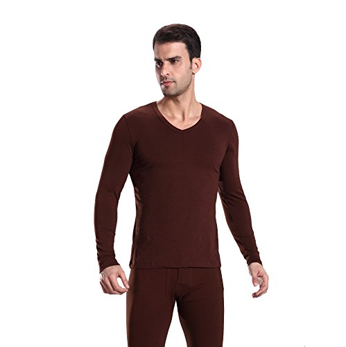 HÖTER Mens Ultra Soft Thermal Underwear Cotton V-Neck Thermal Underwear Long Sleeve Top