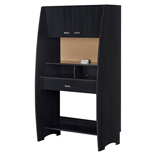 South Shore Furniture Reevo Desk with Hutch and Storage - Bl