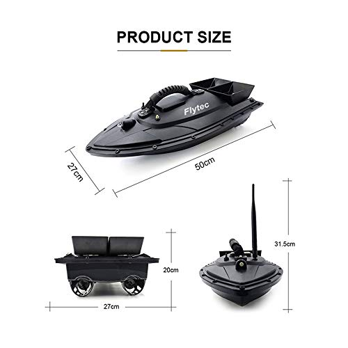 Aumee 2.4GHz RC Boat, Double Motors Two Separate Bait Tanks Electric Radio Bait Fish Finder for Pool & Outdoor Adventure Use to Kids Or Adults (Black) by Aumee (Image #2)