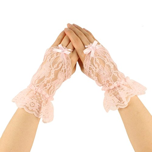 Sexy Sheer Lace Fingerless Ribbon Hook Ruffle Short Wrist Dressy Gloves Pink -