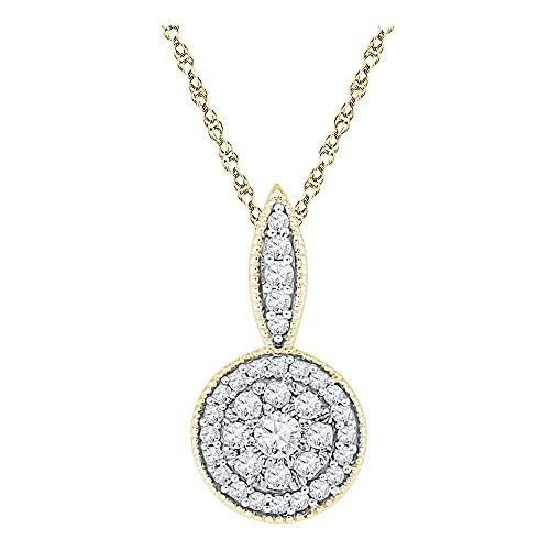Roy Rose Jewelry 10K Yellow Gold Ladies Diamond Cluster Pendant 1/3 Carat tw ()