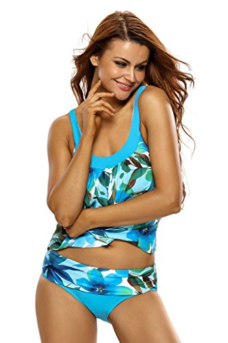 Aleumdr Women's Tankini Swimsuit Sport Retro Blue Floral Print Medium