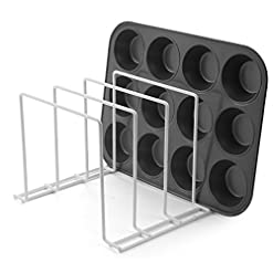 Kitchen Stock Your Home Large Bakeware Organizer (2 Pack) – Rust-Free Durable Coated Steel Lid Organizer – Kitchen Cookware Rack… pot lid holders