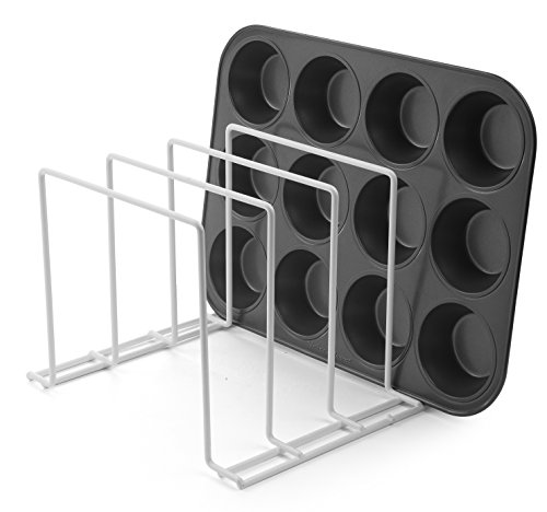 Stock Your Home Large Rust-Free Durable Coated Steel Bakeware Organizer & Kitchen Cookware Rack for Dinnerware, Bakeware, Cookware, Cutting Boards, Pot & Pan Lids (White) - 2 Pack