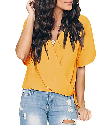 - Women's Deep V Neck Tank Tops Surplice Drape Wrap Sleeveless Sexy Pleated Blouses Summer Shirts (Z Yellow, Small)