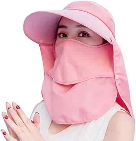 9c8aad48 VILLAY Women's Sun Hat Solid Color Cover face UV Protection Visor Outdoor  Riding Beach Hat