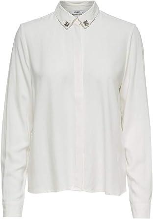 Only - Camisas - para Mujer Blanco Hueso 36: Amazon.es: Ropa y accesorios