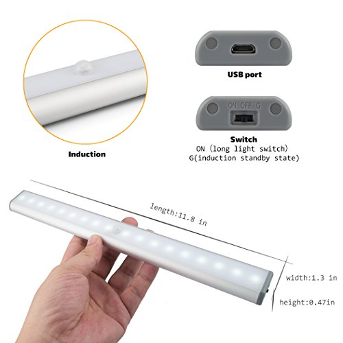 Under Cabinet Lights Closet Lights Motion Sensor 18 LEDs USB Rechargeable Wireless Under Cabinet Lighting,Magnetic Stick On Anywhere LED Night Lights for Closet/Drawer/Cupboard,White Light,2 Pack by LEPOTEC (Image #2)