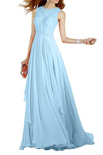 Chiffon La Blau Langes Perlen Kleider Brau mia Abiballkleider Promkleider 2018 Neu Abendkleider Jugendweihe Himmel xYxnO