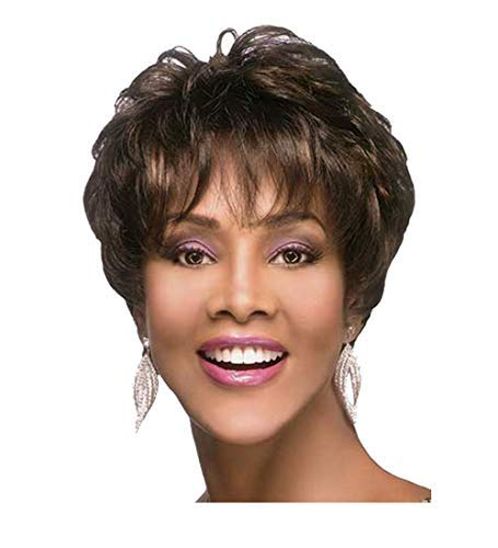 Royalfirst Short Curly Wigs with Bangs-Black Mixed Brown Synthetic Hair Wigs Natural Fashion Party Wigs for African American Women Full Wig + Wig Cap