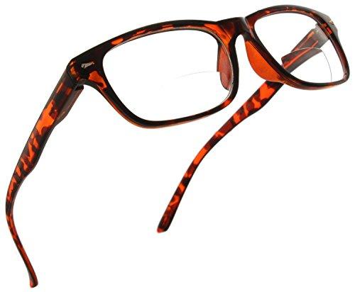 Trendy Bifocal Reading Glasses Readers with Spring Hinges for Men and Women [Dark Tortoise, 1.25]