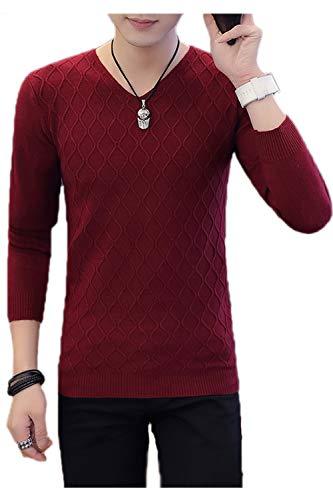 De Suéters Rojo Cuello Nimpansa Suéteres V Manga Larga En Para Hombre Invierno Soild Causal 5ROBvq