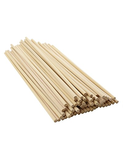 Twdrer 70PCS Unfinished Natural Wood Craft Dowel Rods 12 inch x 1/4 inch, Hardwood Craft Dowel Sticks, for Crafts, Home Decor and DIY. (Bamboo Dowels)