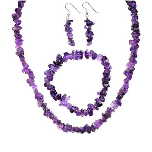 (Himalayan Dark Amethyst Chip Jewelry Set (18
