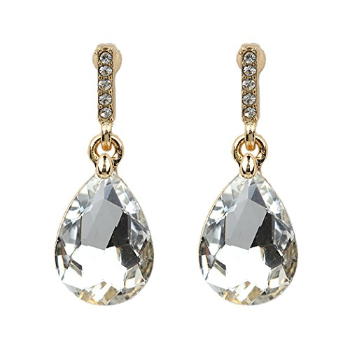 Rosemarie Collections Women's Teardrop Dangle Drop Earrings (Gold (Drop Glass Dangling Earrings)