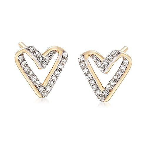 Diamond Open Heart Earrings - Ross-Simons 0.13 ct. t.w. Diamond Open-Space Heart Earrings in 14kt Yellow Gold