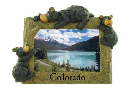 - Rustic Axentz Black Bear with Cubs Photo Picture Frame, 4x6, Horizontal, 9