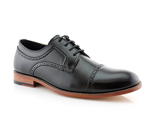 Ferro Aldo Mens Classic Brogue Derby Perforated Oxford Dress Shoes
