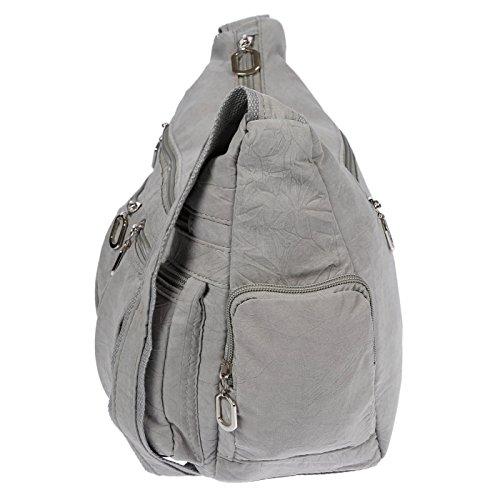 Christian Wippermann Damenhandtasche Schultertasche aus Canvas Beige Hellgrau GQs1J