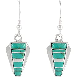 Turquoise Earrings in 925 Sterling Silver & Genuine Turquoise (Turquoise)