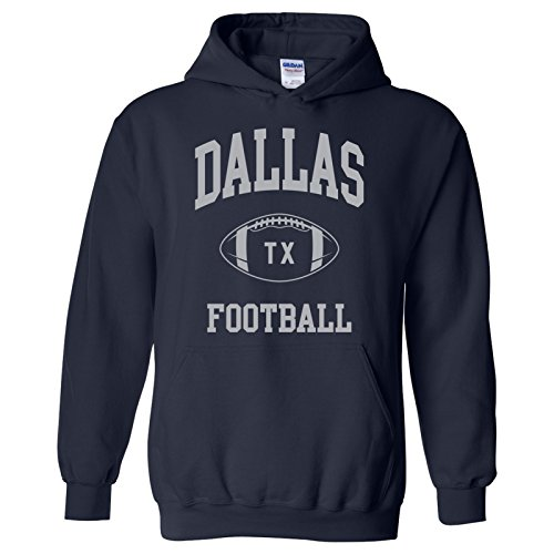 Dallas Classic Football Arch American Football Team Sports Hoodie - Large - Navy (Hoody Color Team Sweatshirt)