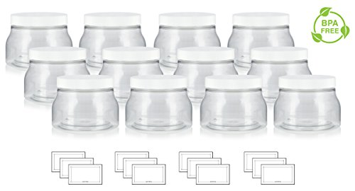 (8 oz / 240 ml Clear PET Plastic (BPA Free) Tuscany Refillable Jar with White Lid - (12 pack) + Labels)