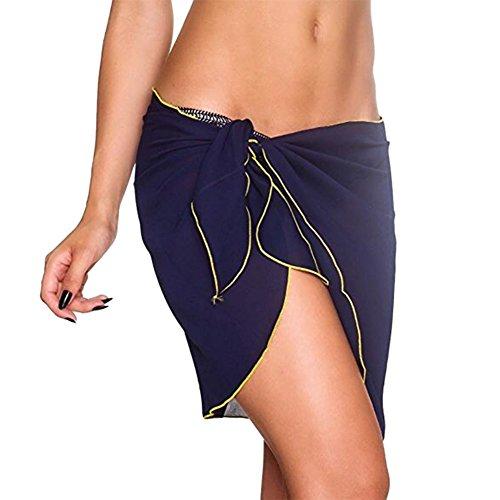 Blue Navy in Sarong bikini copertura bikini stampato da con sexy Involucro in chiffon da bagno donna di 0qpwnaZ