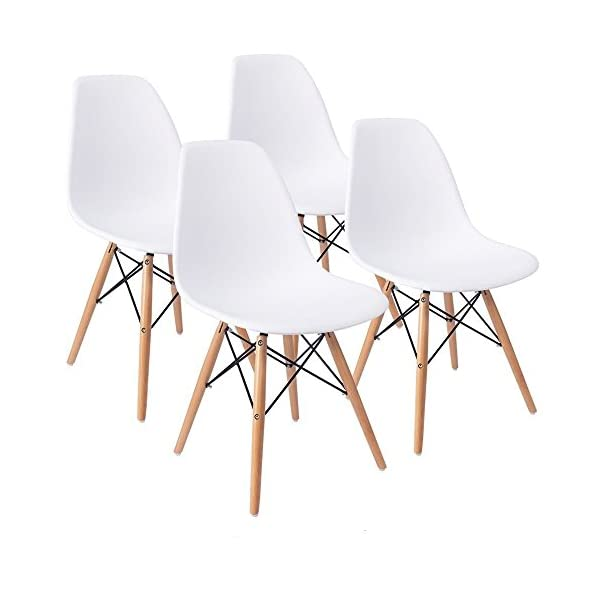 KunstDesign Set di 6 Sedie da Pranzo con Seduta in Polipropilene e Gambe in Legno Massello di Faggio Design Ergonomico Nero