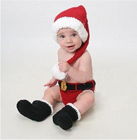 Lookout recién nacido bebé fotografía Props Tejido a mano ganchillo disfraz traje de Navidad estilo encantador invierno 6-9 months Talla:6-9 meses