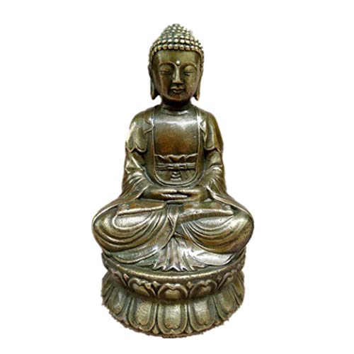 (XDH-RTS Classic Bronze Buddha Statue Buddha Sitting Lotus Statue Crafts Retro Home car Decoration Gifts)