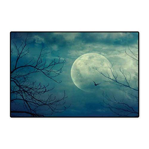 Horror House Door Mats for Home Halloween with Full Moon in Sky and Dead Tree Branches Evil Haunted Forest Print Bath Mat for Bathroom Mat 16