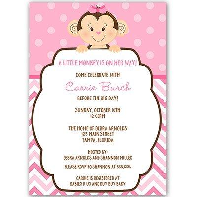 Amazon little monkey baby shower invitations sprinkle little monkey baby shower invitations sprinkle birthday pink girls filmwisefo