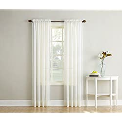 "No. 918 Erica Crushed Textured Sheer Voile Rod Pocket Curtain Panel, Eggshell White, 51"" x 84"""