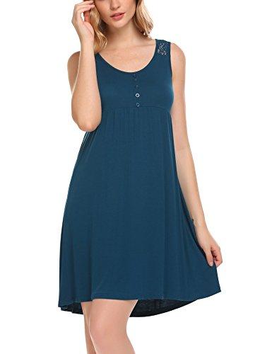 Ekouear Women's Full Slip Cotton Blend Sleeveless Chemise Nightgown Sleep Dress(Cobalt Blue XXL) (Nightshirt Sleeveless)
