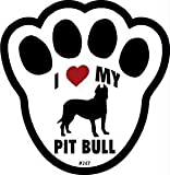 I Love My Pitbull Dog Pawprint Window Decal w/Suction Cup