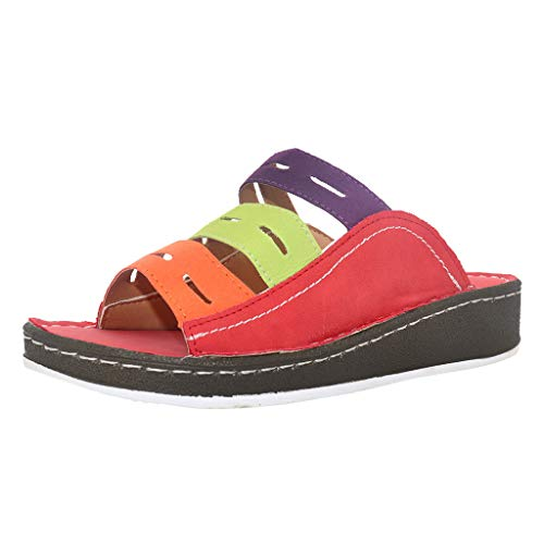 - Wedge Slides Sandals,ONLY TOP Women Strappy Leather Sandals Platform Slides Open Toe Slippers Summer Slip On Shoes Red