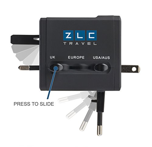 ZLC Travel Compact Universal Power Adapter with DUAL FUSE, DUAL USB Ports, (250v Black Lock Plug)
