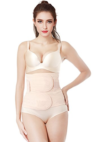 Gepoetry Postpartum Belly Wrap Girdle Recovery Support Belly Band Waist Trainer Belt Shapewear (Small, Nude2)