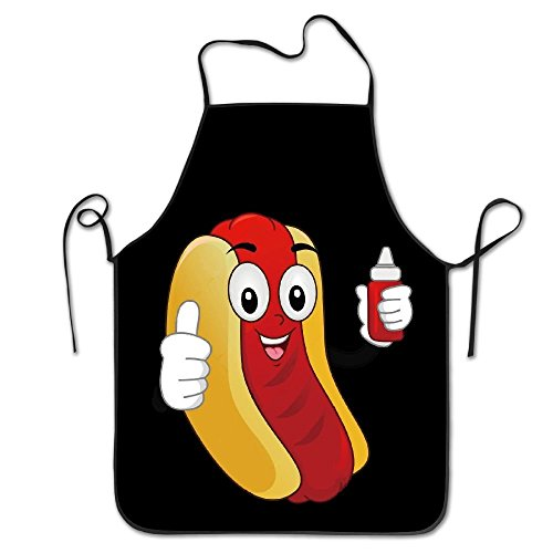 HATS NEW Novelty Funny Hotdog Ketchup Unisex Kitchen Chef Apron - Chef Apron For Cooking,Baking,Crafting,Gardening And BBQ]()