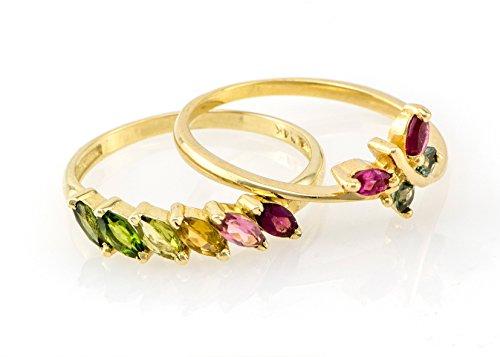 Unique Bridal Rings Set, Wedding Tourmaline Birthstones Rings Set, 14k 18K Gold Bridal Set, Butterfly Ring
