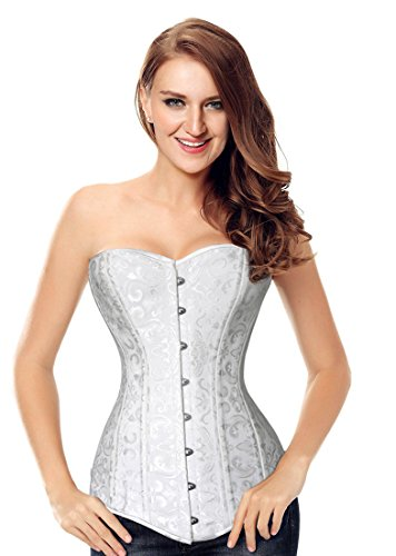 Charmian Women's Spiral Steel Boned Overbust Long Torso Body Shaper Corset Satin Blanco