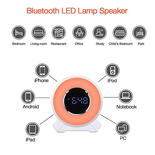 Alarm Clock Radio with Bluetooth Speaker, Touch LED Light w/ 7 Adjustable Colors, FM Radio for Kids Bedroom and Outdoor Party
