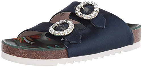 Nine West Women's ILLWAIT Satin Slide Sandal, Navy, 10 Medium US - Nine West Satin Heels