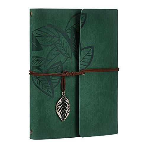 Scrapbook Album,Leather Leaf Pattern Vintage Photo Album Family DIY Memory Retro Photo Book Guestbook for Anniversary Mother Birthday Valentine 60 Pages(Green)