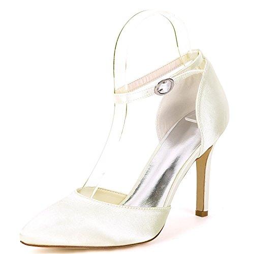 Donna Bridesmaids Satin Sposa Heel Platform Scarpe New 5cm Low Da yc 9 Ivory Kitten L Buckle Evening Heels aq0SIW