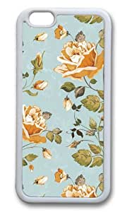 MOKSHOP Adorable Golden Petals Soft Case Protective Shell Cell Phone Cover For Apple Iphone 6 Plus (5.5 Inch) - TPU White