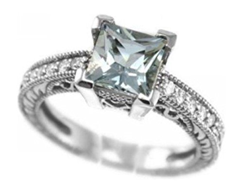 2 cttw White-gold Natural Aquamarine Diamond Engagement Ring Princess 10mm Custom Handcrafted In USA