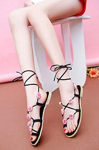sandals Schwarz Blumen Roman Cystyle Women's Etwqw6pB1
